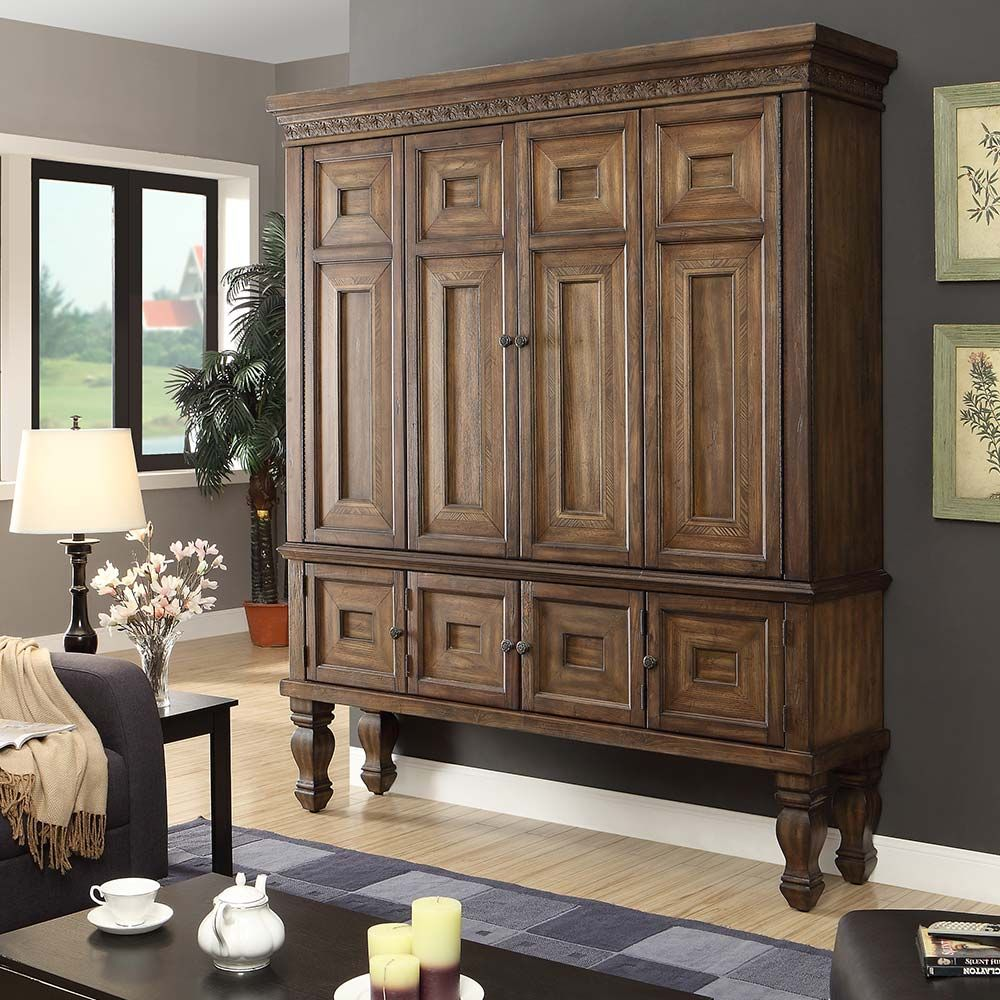 Aria entertainment armoire in antique vintage smoked pecan dynamichome entertainment armoire for The parkers tv show living room