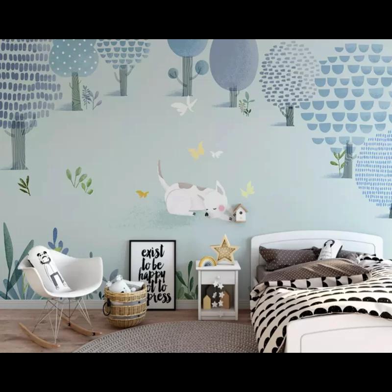 Cartoon Dog Abstract Forest Textile Kids Wallpaper Kids Room Wall Murals Wall Design Kids Room Design