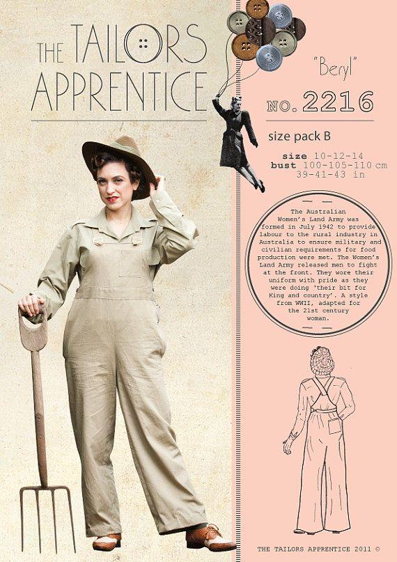 Pack B 14-16-18 Australian land army women overalls, sewing pattern ...
