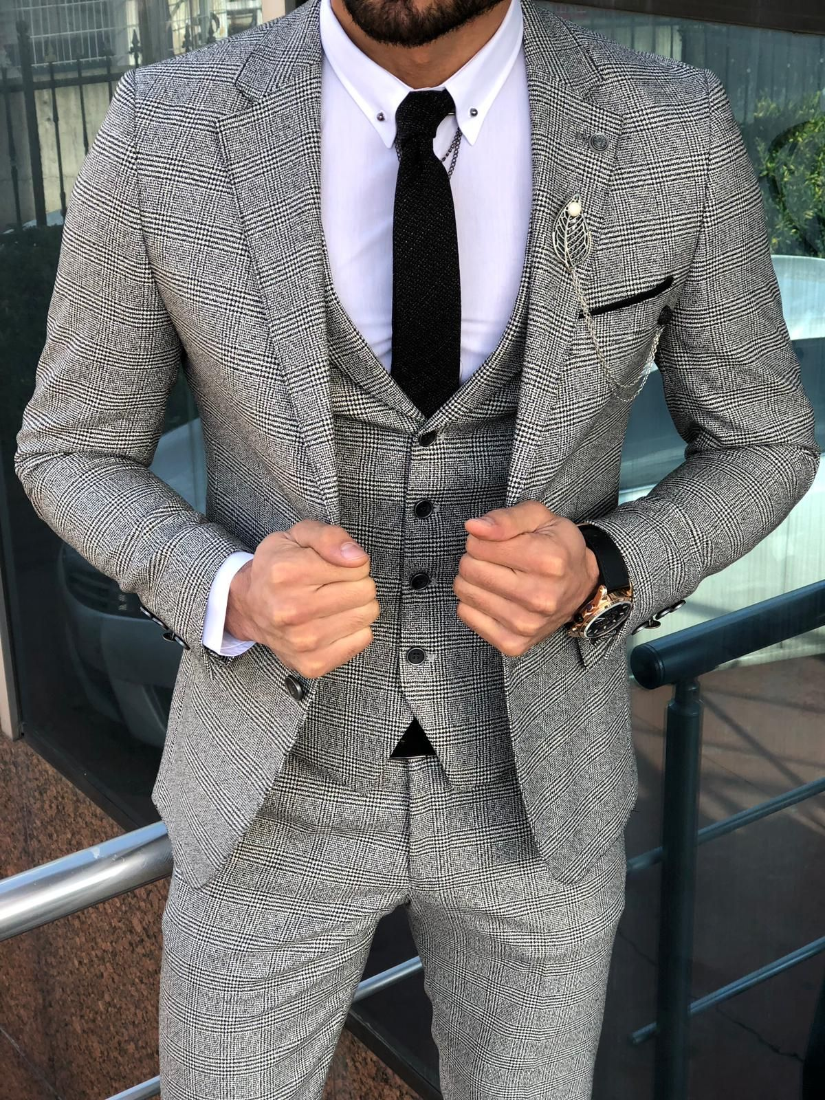 Buy gray slim fit plaid suit by with in 2020