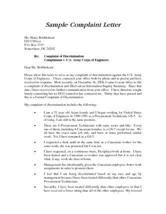A complaint letter to HR is an important step in documenting a - complaint letters