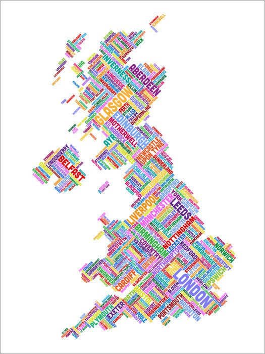 Great Britain Uk City Text Map Art Print 303 Etsy Map Art Print Map Art Art Prints