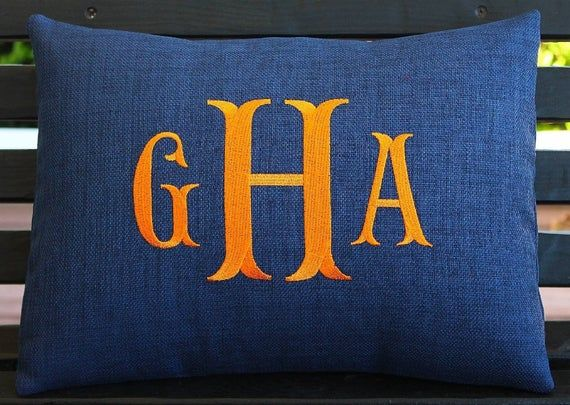 Monogrammed Indoor Outdoor Pillow Cover in Indigo Navy Blue | Initials | Alphabet | Embroidered | Wedding | Gift | Boys Room