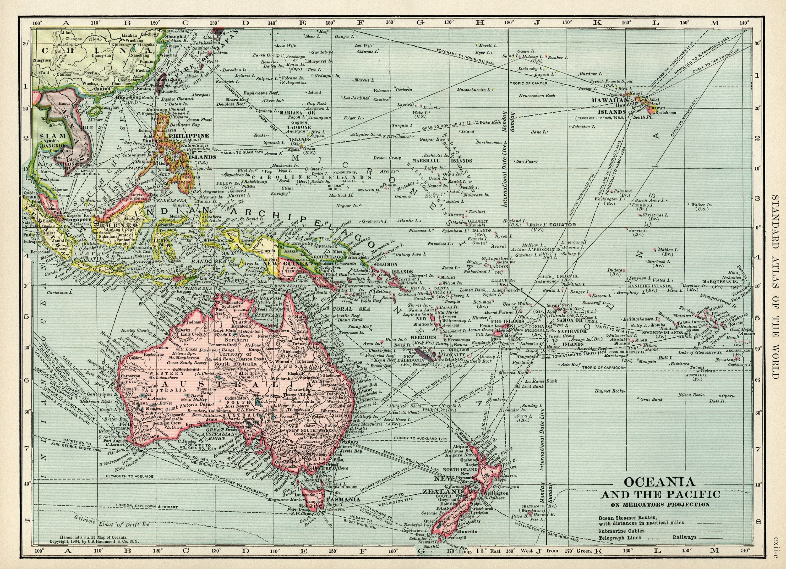 Oceania and pacific map vintage map download antique map c s oceania and pacific map vintage map download antique map c s hammond map gumiabroncs Images