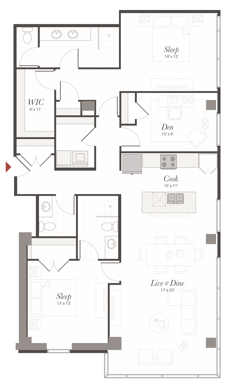 Leasing Office Floor Plan North Park apartment community