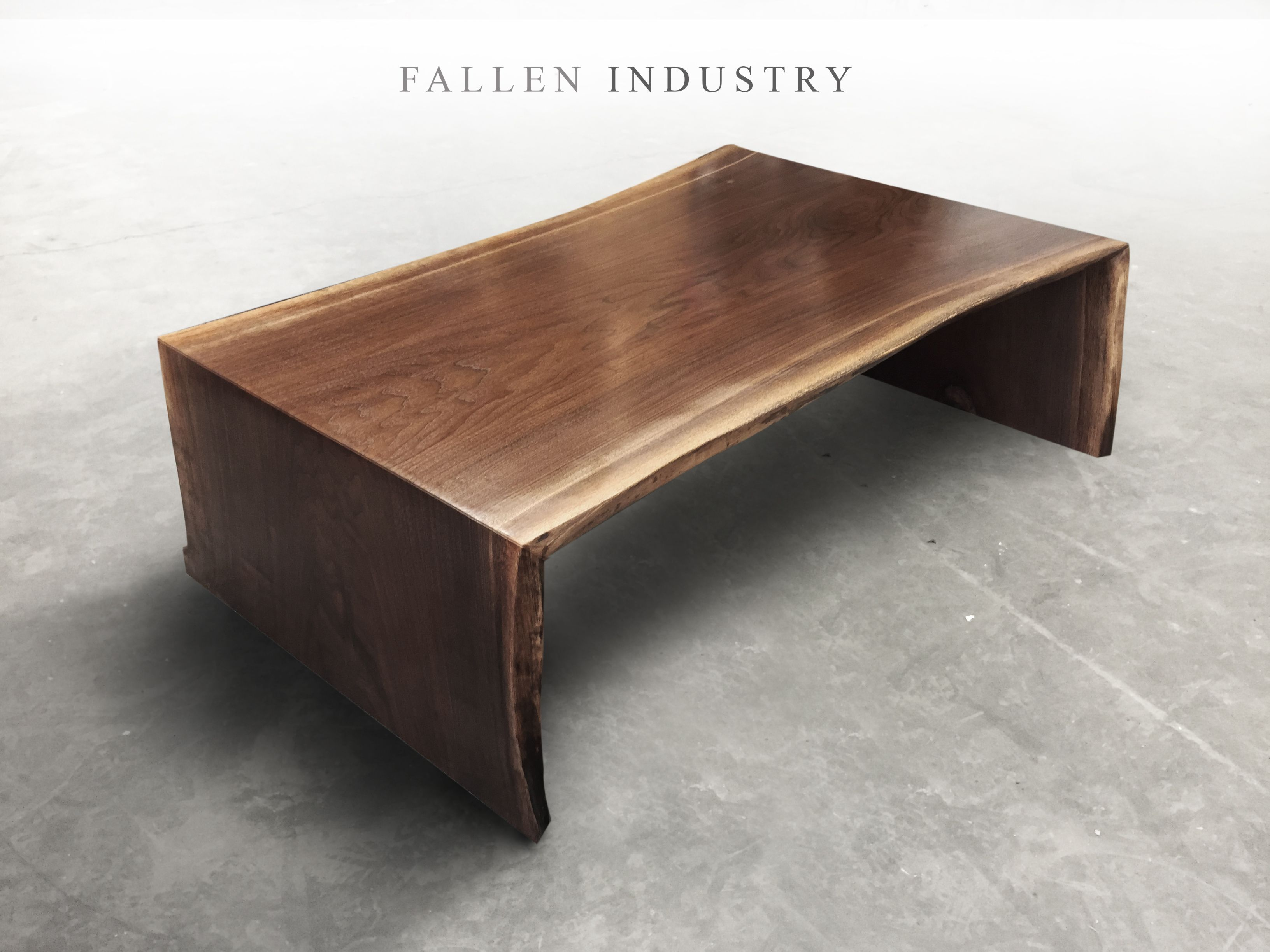 Waterfall Coffee Table Live Edge Custom Built Modern Furniture And Architectural Elements Made From Reclaimed Wood