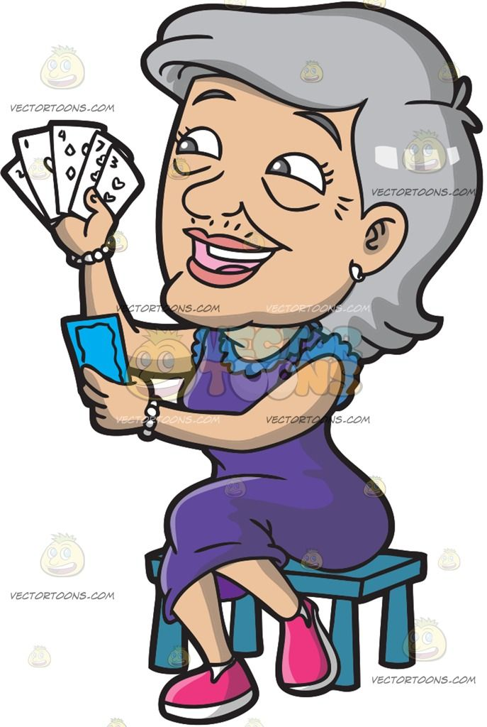 A Happy Old Lady Playing Cards Old Women Olds Lady