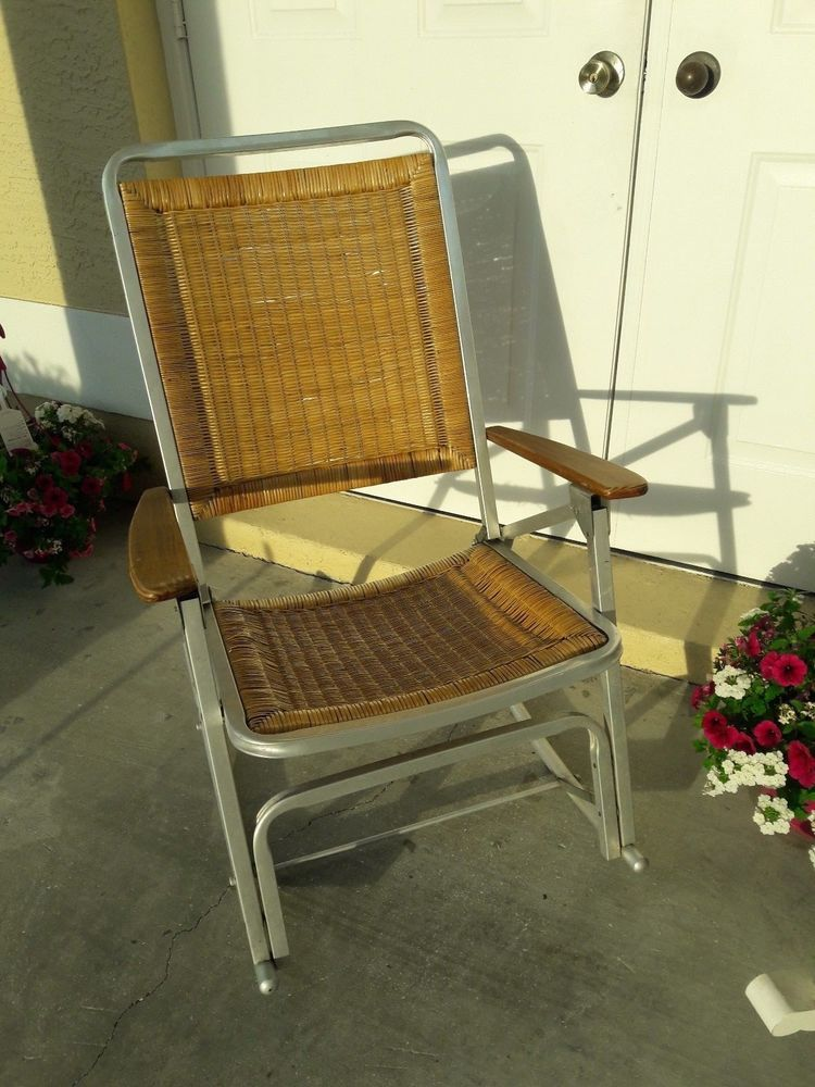 Remarkable Vintage Wicker Folding Rocking Chair Aluminum Frame Mcm Machost Co Dining Chair Design Ideas Machostcouk