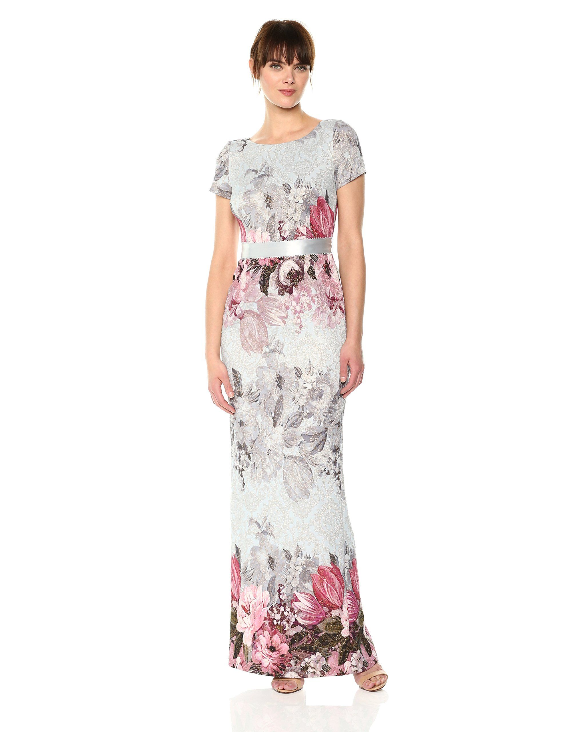 Adrianna Papell Womens Long Floral Dress Ice Blue Multi 6 Visit The Image Link More Details Affil Floral Dresses Long Women Dress Online Womens Floral Dress