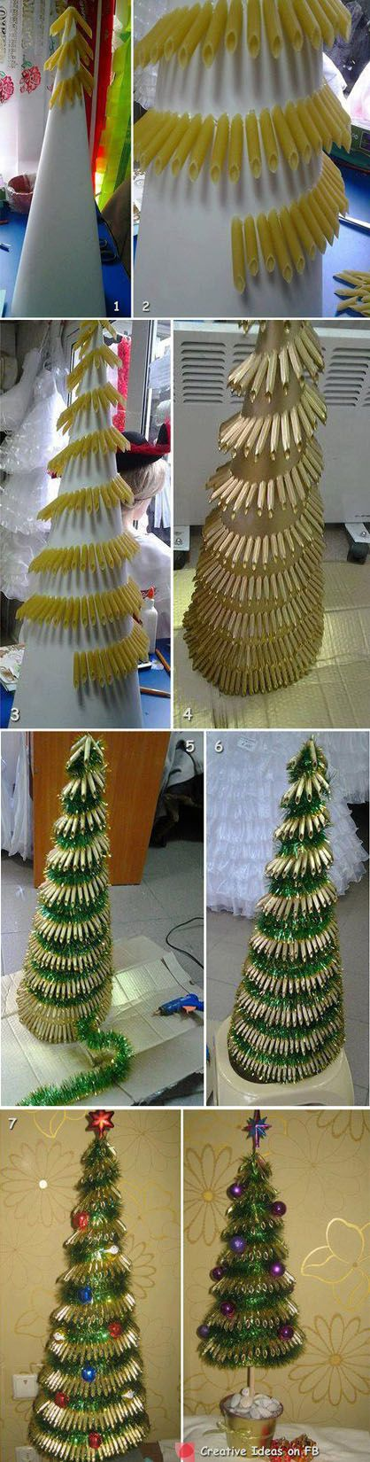 Pasta Christmas tree Crafty Ideas Pinterest Fun projects