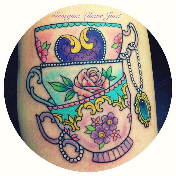 the coloring and jewerly to fill in half sleeve between cup and