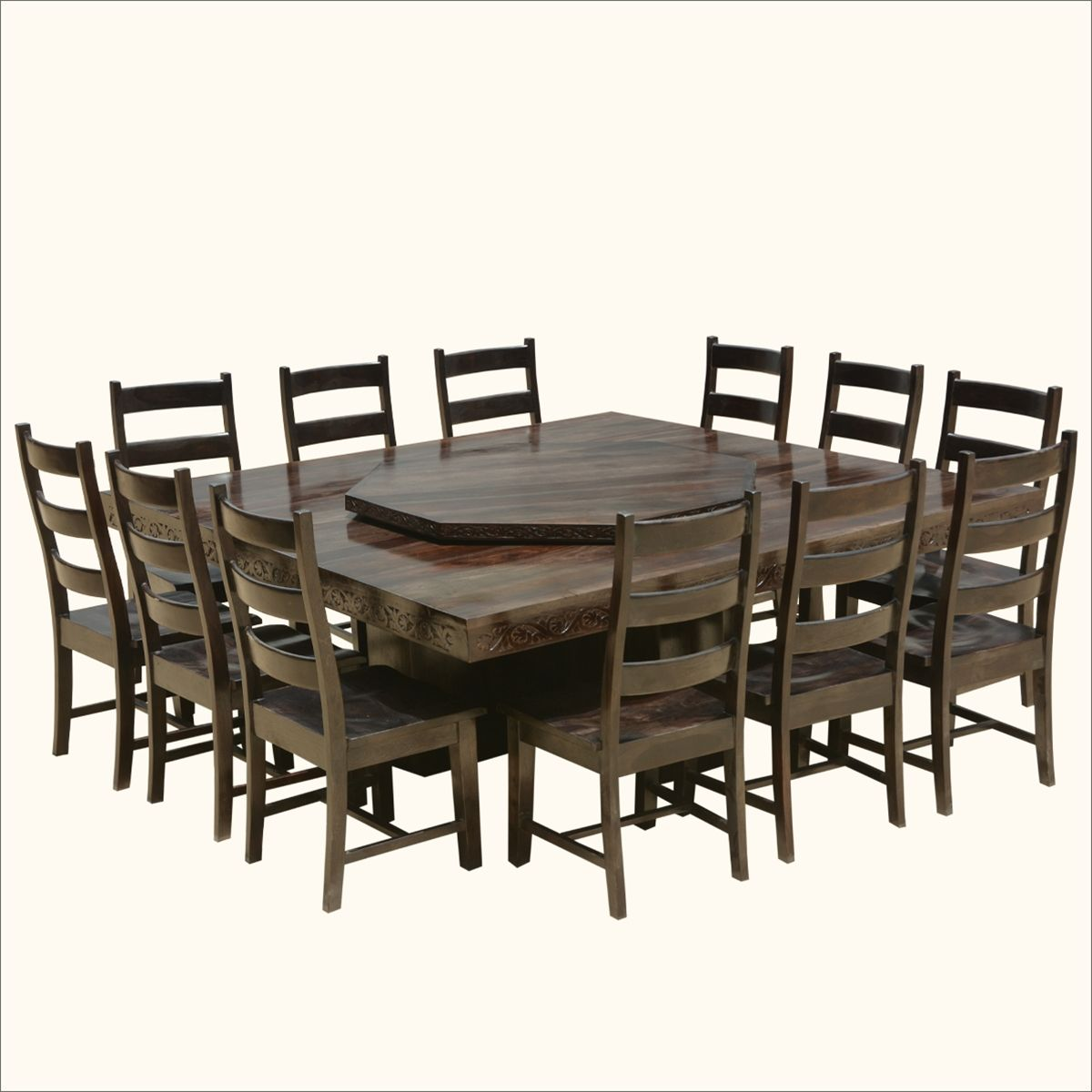 Round Dining Room Tables For 12: Modern Pioneer Solid Wood Lazy Susan Pedestal Dining Table