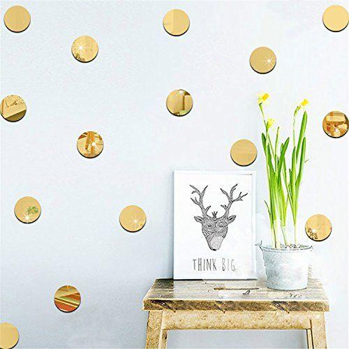 Yanqiao Circle Dots Diy 5x5cmx20 Pcs 3d Ps Wall Sticker Mirror
