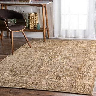 NuLOOM Traditional Vintage Inspired Overdyed Fancy Beige Rug X (Natural),  Brown, Size X (Nylon, Floral)