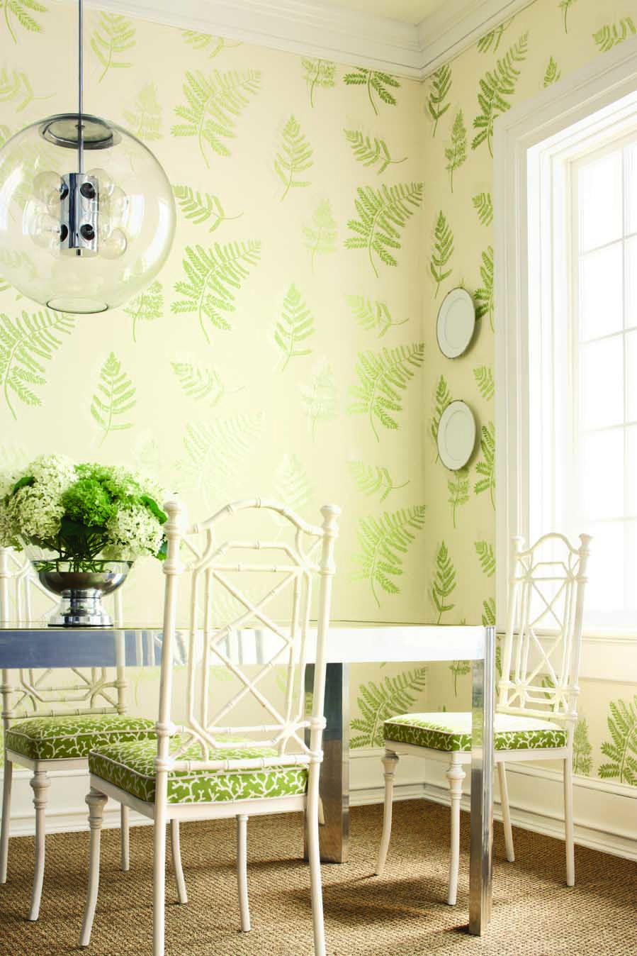 Fougere Wallpaper In Green Pearl On Cream From The