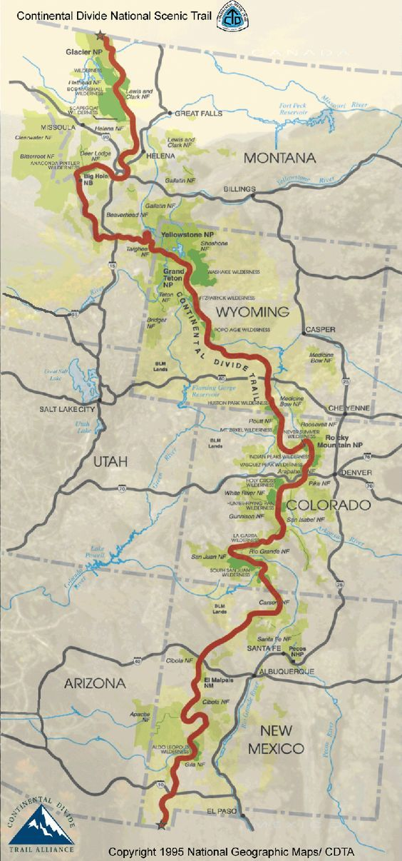 Continental Divide Trail Miles States CDT Continental - Map of continental us