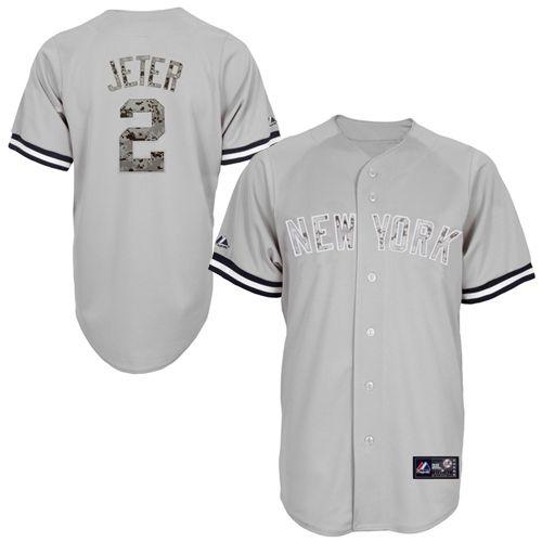 e5a56fce763 Majestic Derek Jeter New York Yankees Camo USMC Replica Player Jersey – Gray