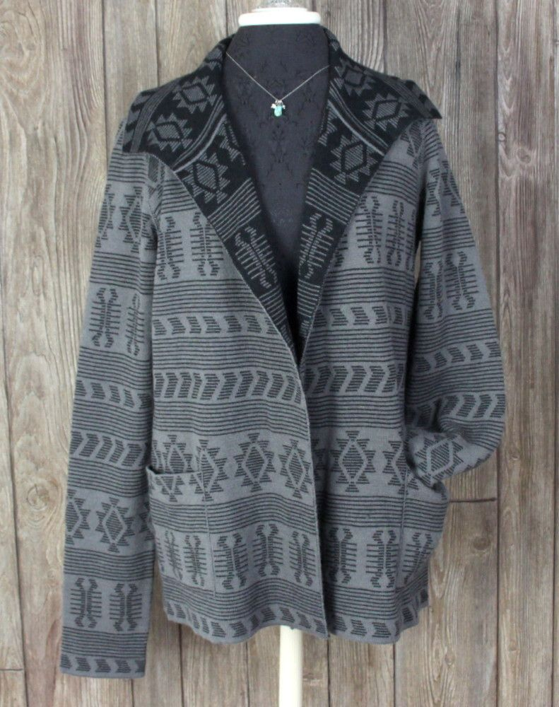 acfc0774c8d Adorable Tracy Reese Sweater Coat M size Alpaca Blnd Gray Black Southwest  Womens Cardigan