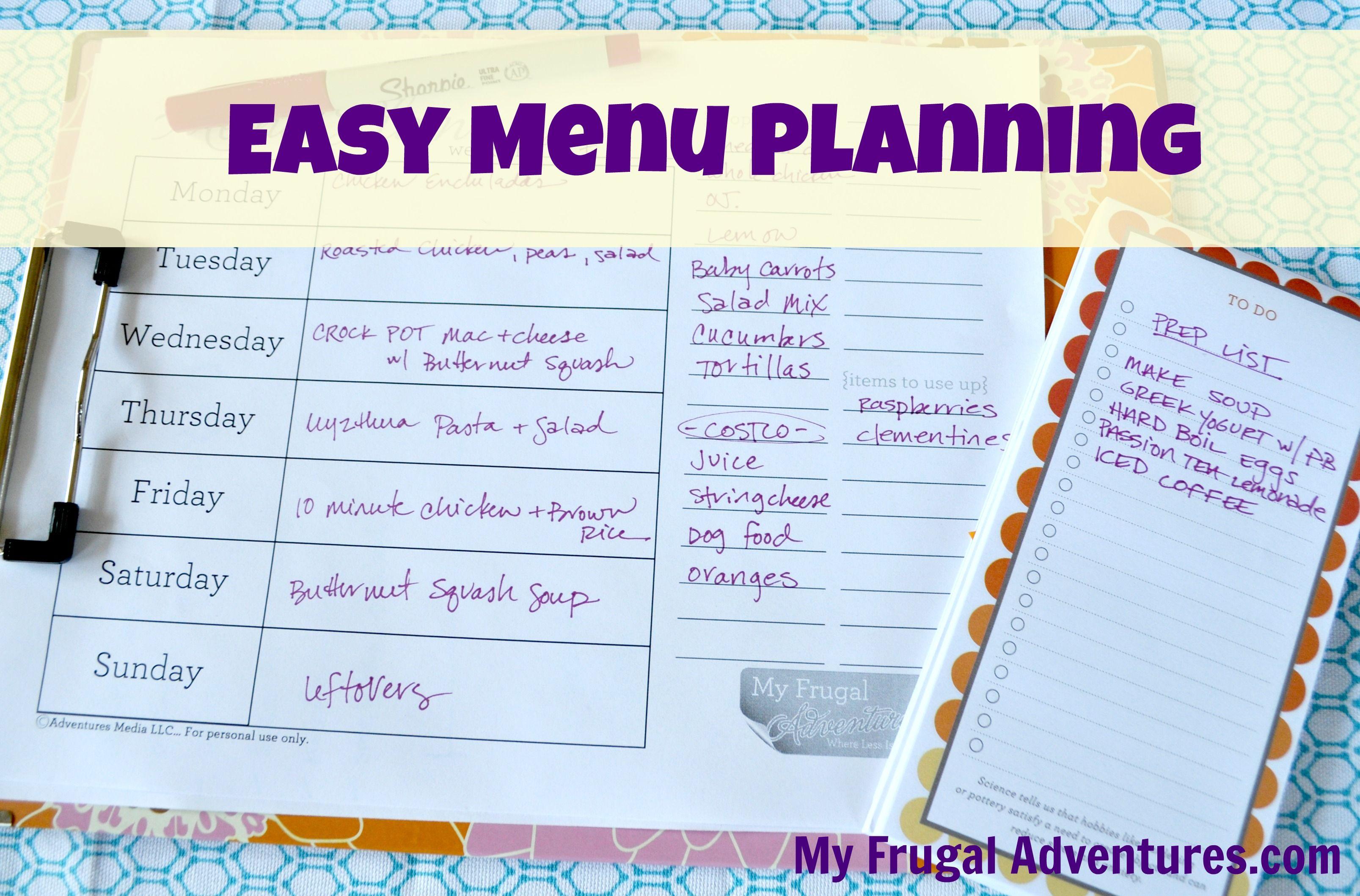 How To Start Weekly Menu Planning Free Menu Plan