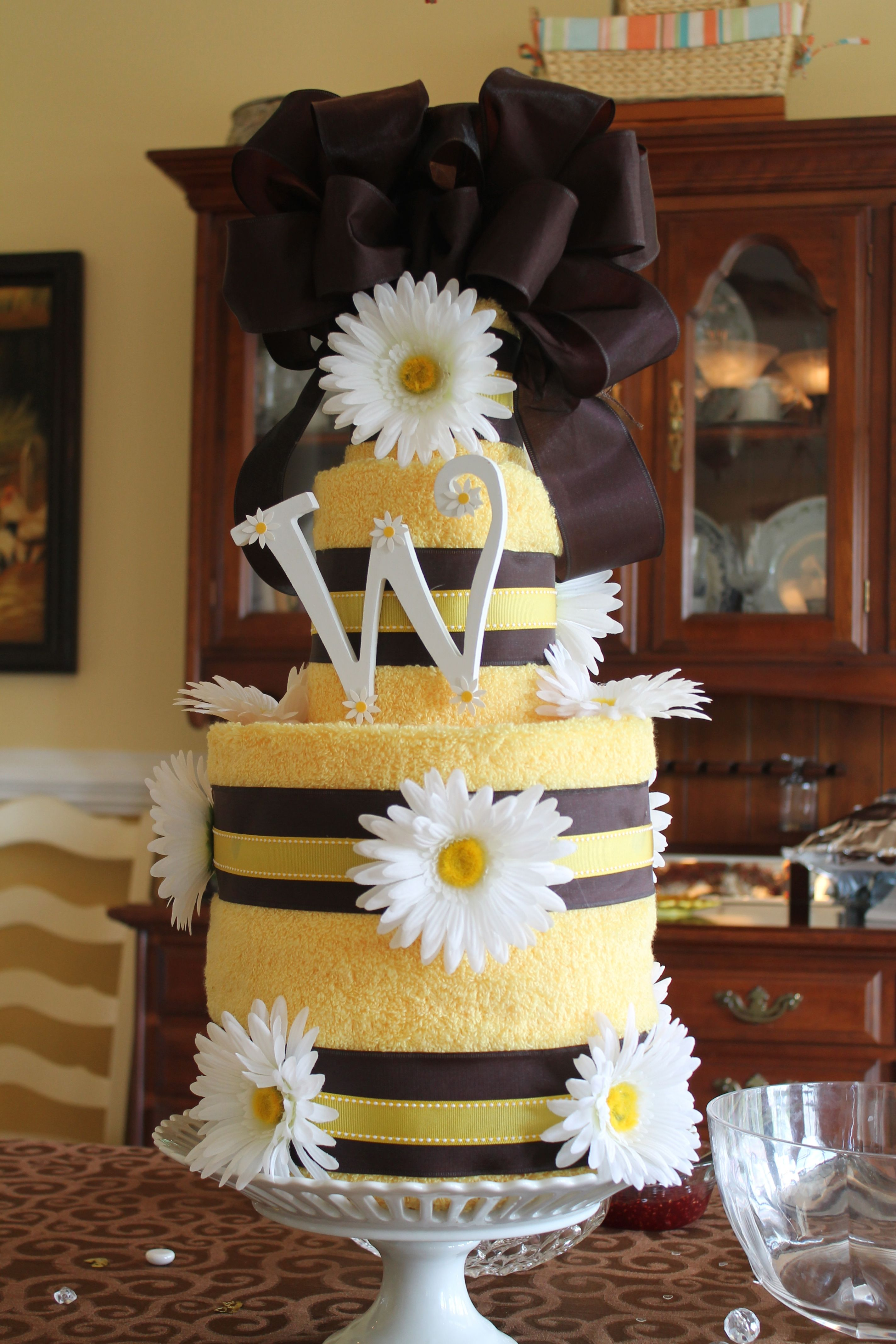 Towel Cake for a sunflower and daisy themed bridal shower