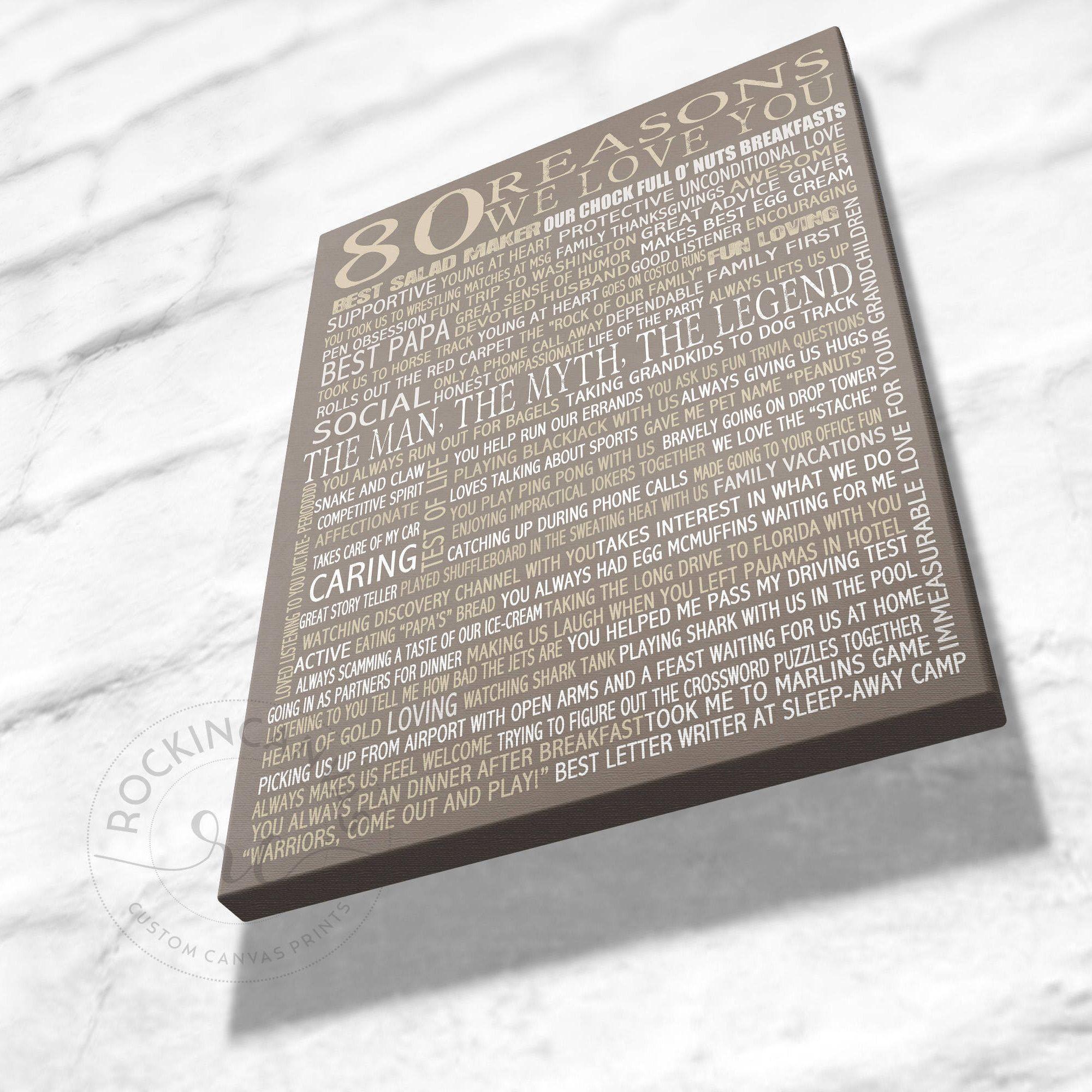70th Birthday Present, Reasons we love you, 30th, 40th