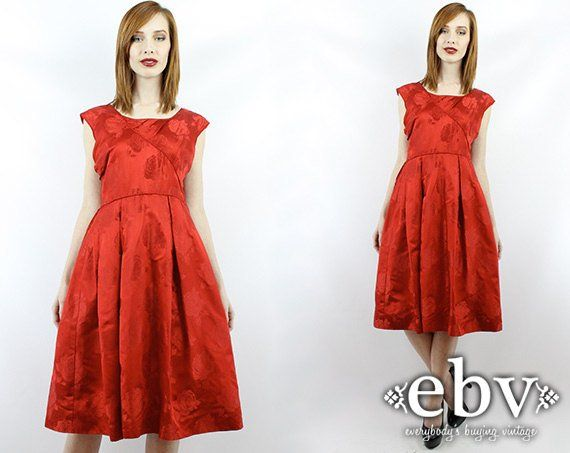 35760ccdf30 Vintage 50s Red Party Dress S M Red Mini Dress Cocktail Dress 50s Party Dress  Red 50s Dress 50s Red