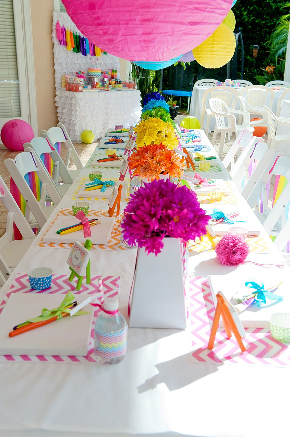Amazing Chevron Rainbow Art Party: Rainbow Daisy Centerpieces...using The Food  Coloring In