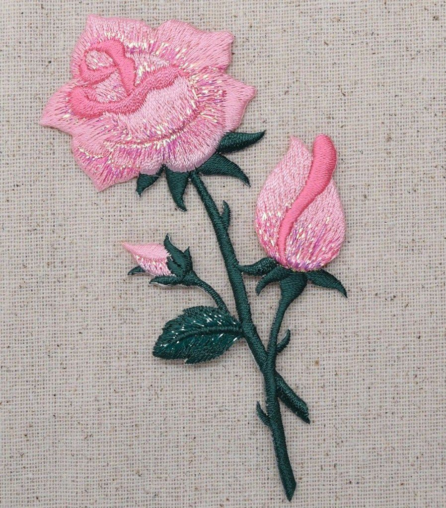 Pink rose open petals on stem iron applique