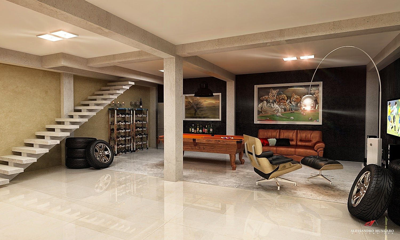 Garagens modernas integradas a rea de lazer e at a sala for Sala de estar oficina
