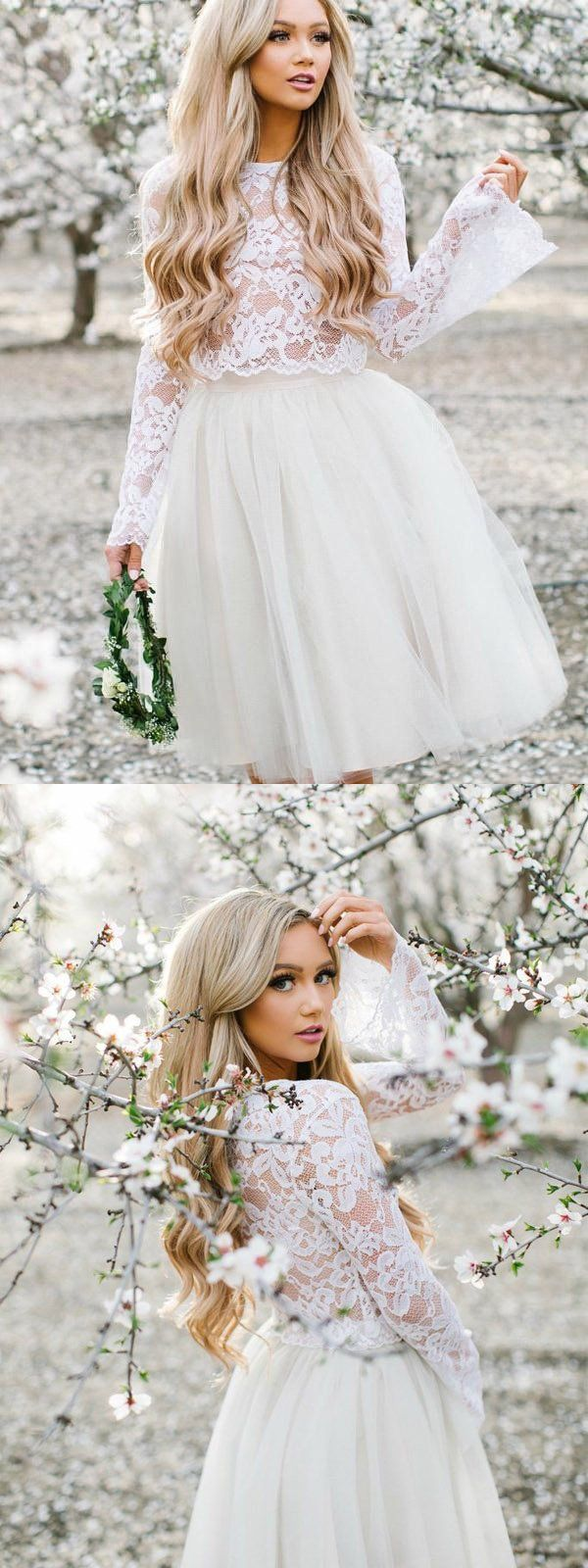 Two pieces homecoming dresses white lace homecoming dresseslong