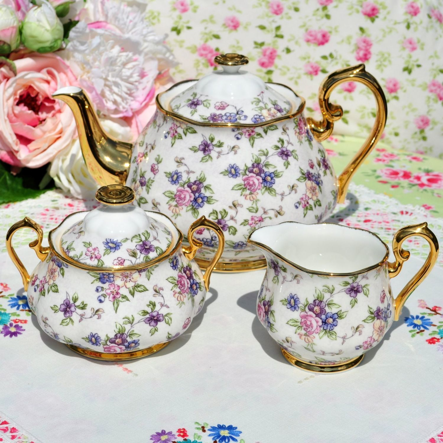 Royal Albert 1940's English Chintz Teapot Teaset #teasets