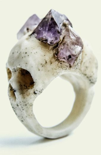 Two sided skull ring with amethyst crown, a mere $188.