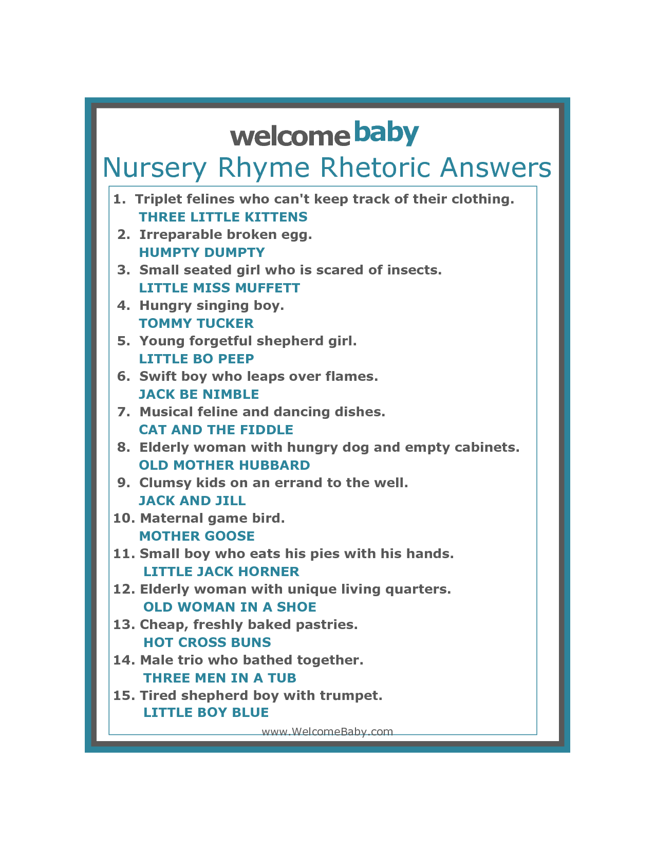 Amusing Name That Nursery Rhyme Baby Shower Game Free Baby Invitations Comfy Fill In The Nursery