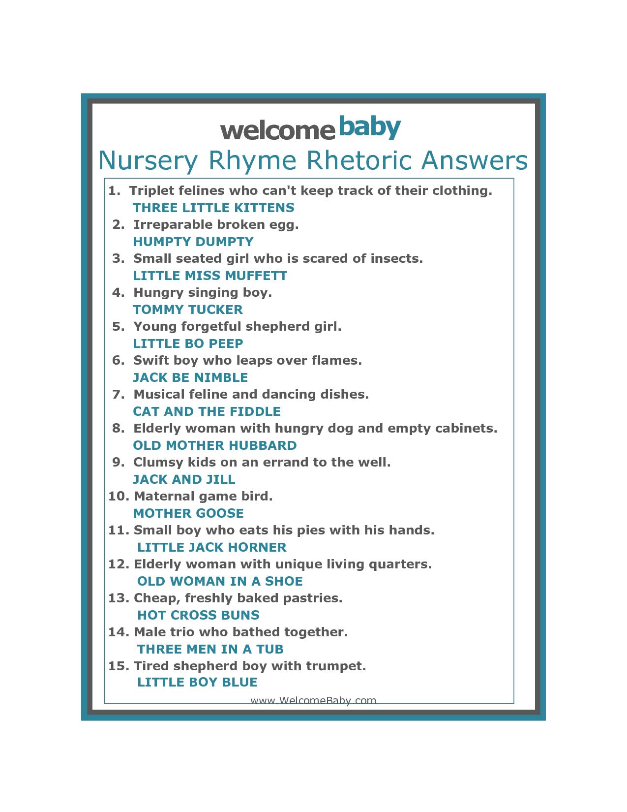 Amusing Name That Nursery Rhyme Baby Shower Game Free Baby