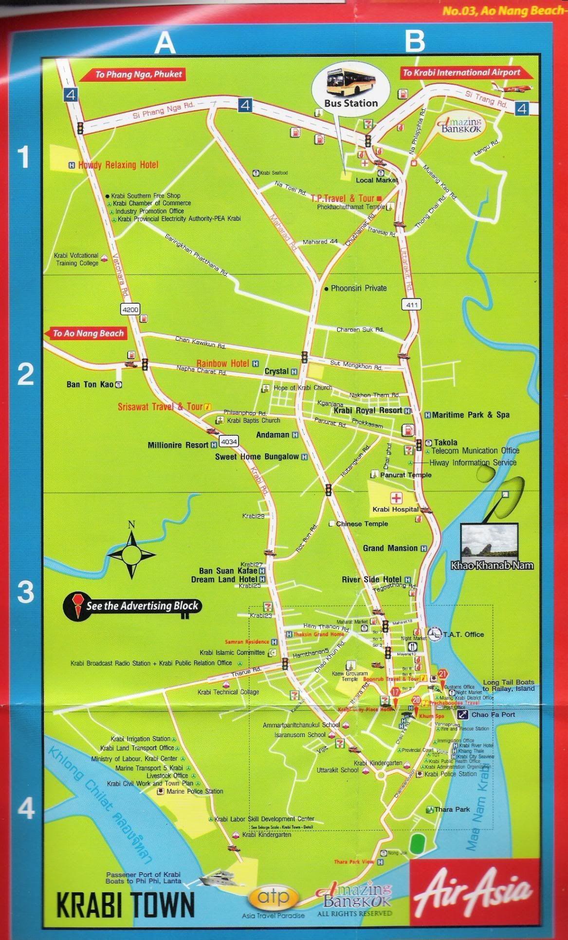 Krabi Town map | KRABI Tours, Transport, Attractions ...
