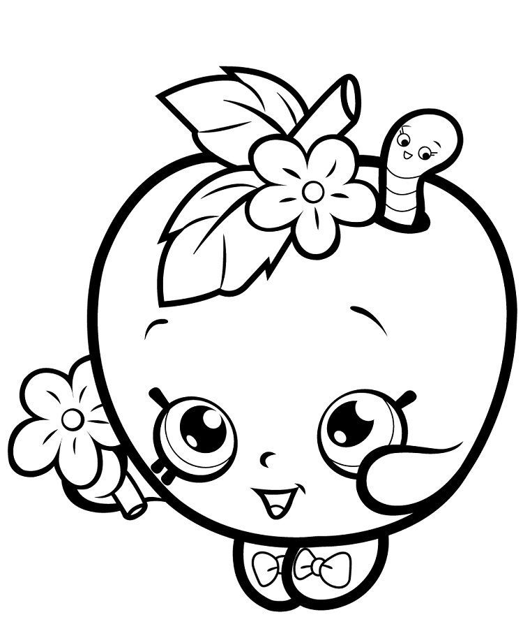 Apple Blossom Coloring Page In 2020 Shopkins Coloring Pages Free
