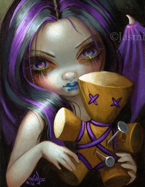 """Voodoo Doll Fairy set of prints by Jasmine Becket-Griffith - gothic fairy art with voodoo dolls - """"Voodoo in Blue"""" """"Voodoo in Violet"""" """"Voodoo in Pink"""""""