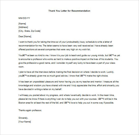thank you letter for recommendation free sample example Home - thank you letters for recommendation