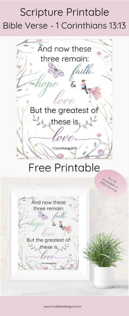 graphic relating to Free Printable Scripture Art identified as Cost-free Scripture Printable - 1 Corinthians 13:13 Printables