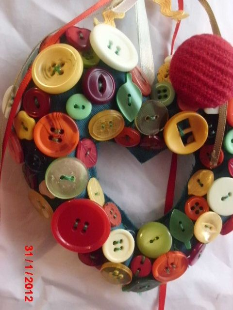 Unique and Vintage!  A wreath with just random buttons!
