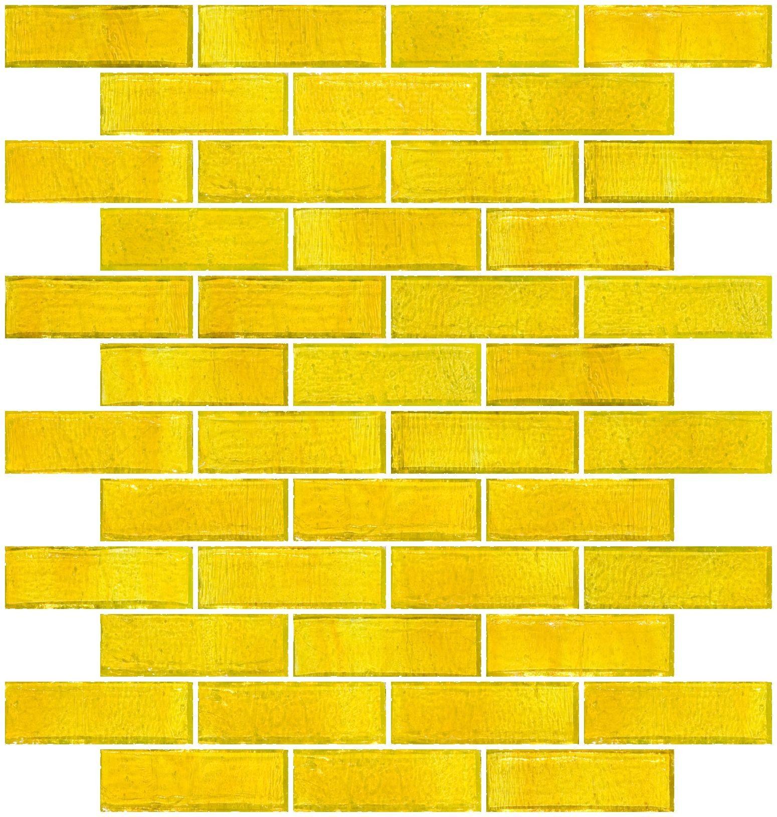 1x3 Inch Sunshine Yellow Transparent Glass Subway Tile