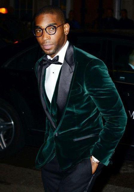 b333bad0b93b One Button Dark Green Velvet Groom Tuxedos Groomsmen Mens Wedding Suits  Formal Dress (Jacket+Pants+Vest+Tie) NO:032