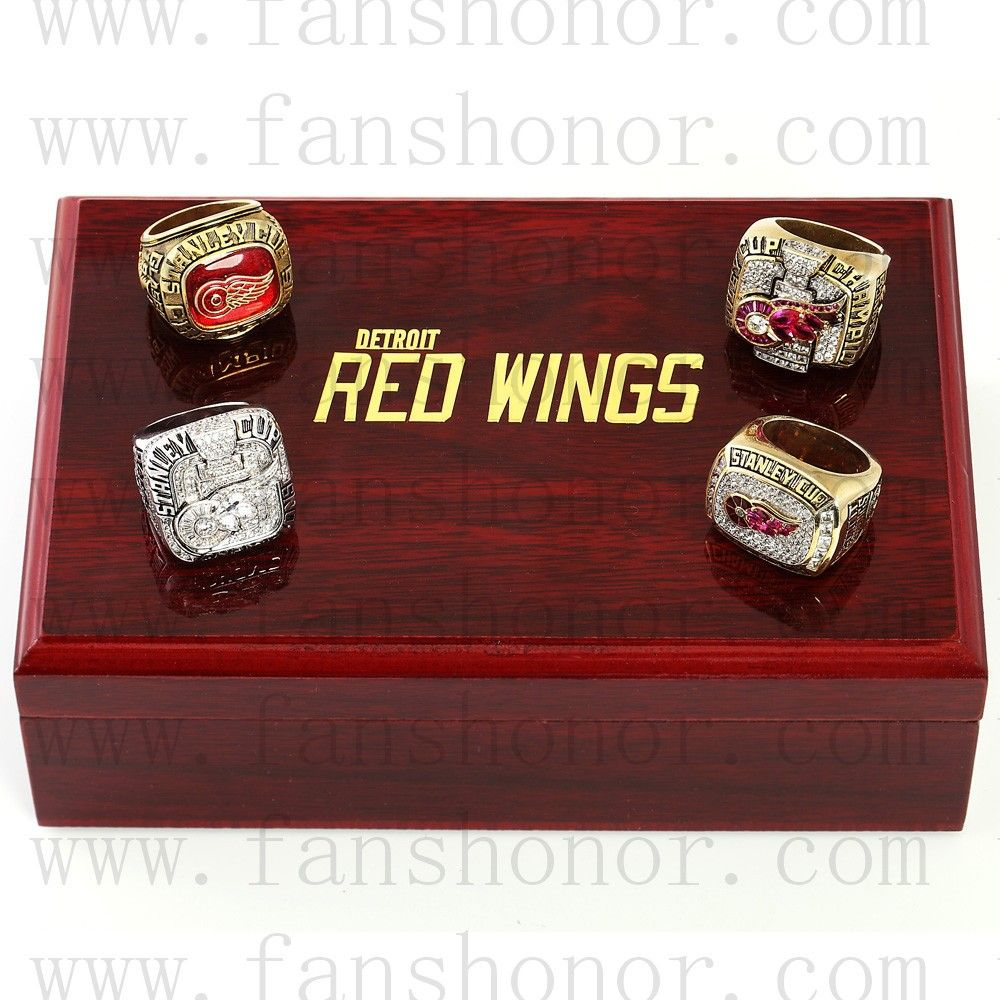 Detroit Red Wings Nhl Championship Rings Set Wooden Display Box