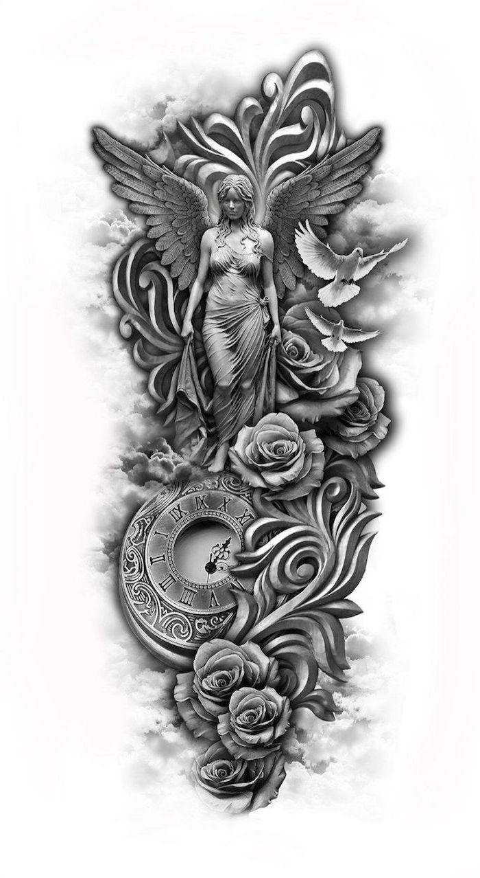 Angel Clock Roses Birds Sleeve Tattoos For Girls Black White Sketch In 2020 Dragon Sleeve Tattoos Floral Tattoo Sleeve Animal Sleeve Tattoo
