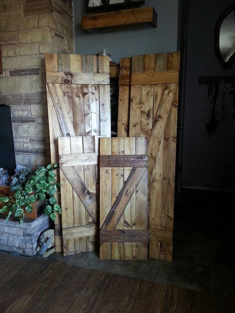 Z Bar Rustic Wooden Shutters 36 Set Of 2 Interior Etsy In 2020 Interior Shutters Wood Shutters Wood Doors Interior
