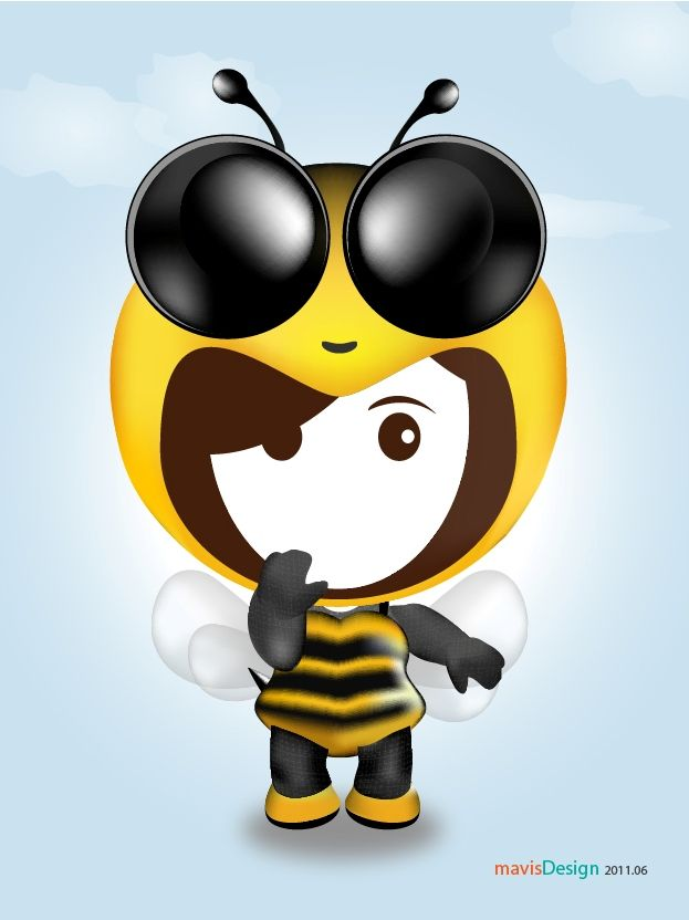 Character design - Character in bee dress design by Mavis Wang @ 2010 with Adobe Illustrator.