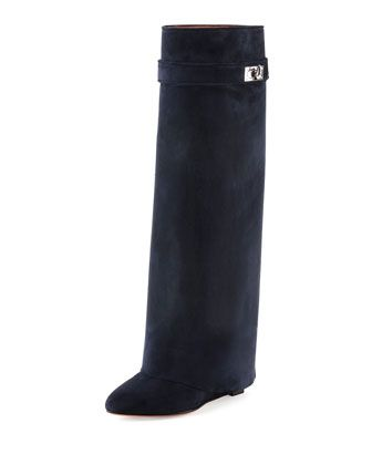 38f712f8de7 Suede+Shark+Lock+Fold-Over+Boot,+Navy+by+Givenchy+at+Neiman+Marcus ...