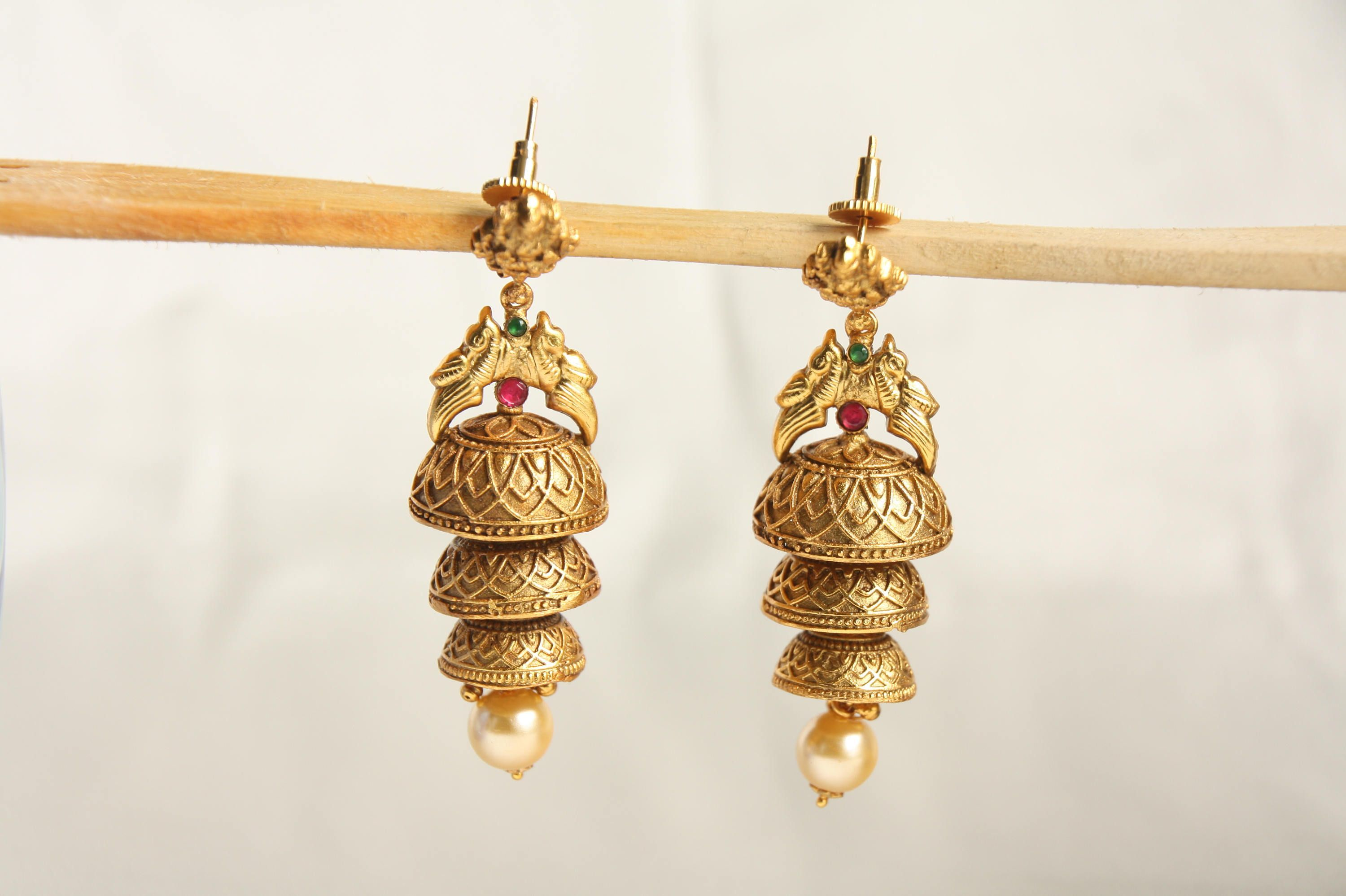 Antique gold finish layered jhumka earring temple jewelry