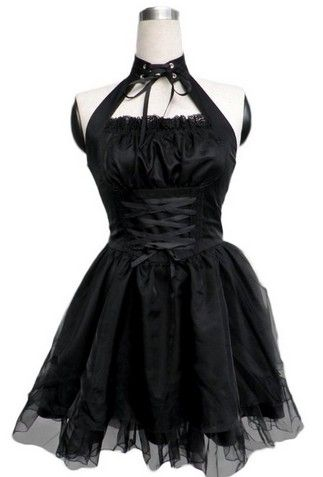 Sexy Black Halter Backless Bandage Pleated Cosplay Lolita Dress