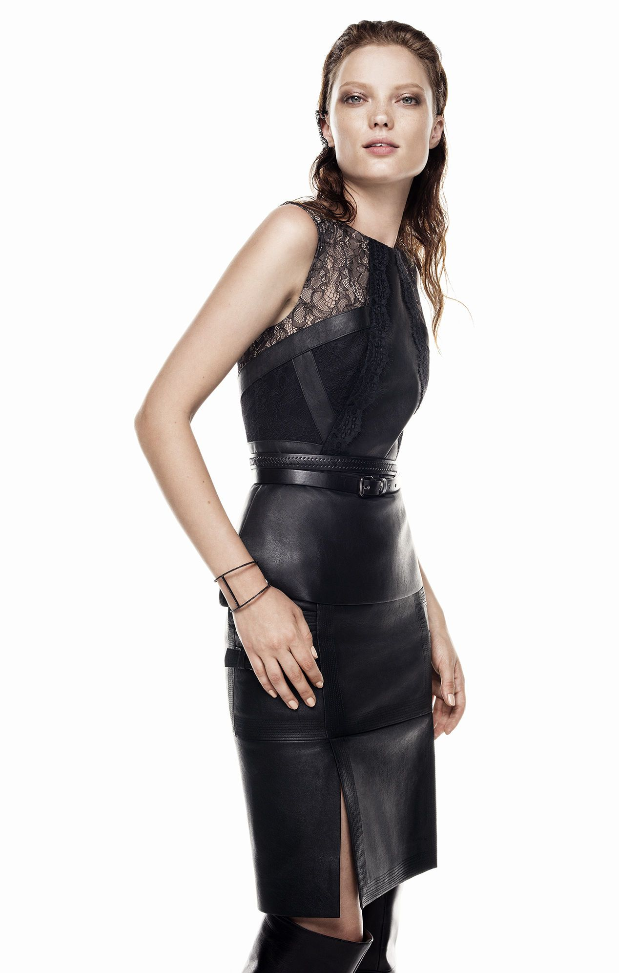 a2e9387e46b Lace Top Leather Skirt Dress – DACC